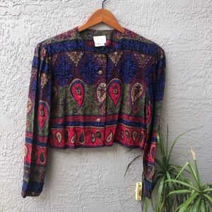 Vtg Paisley Pattern Button Up Blouse Cropped Top
